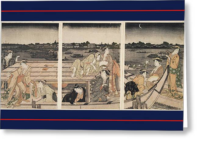 Sumidagawa Funa-asobi = Pleasure-boating On The Sumida River Greeting Card by Artokoloro