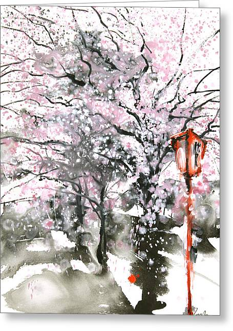 Sumie No.3 Cherry Blossoms Greeting Card by Sumiyo Toribe