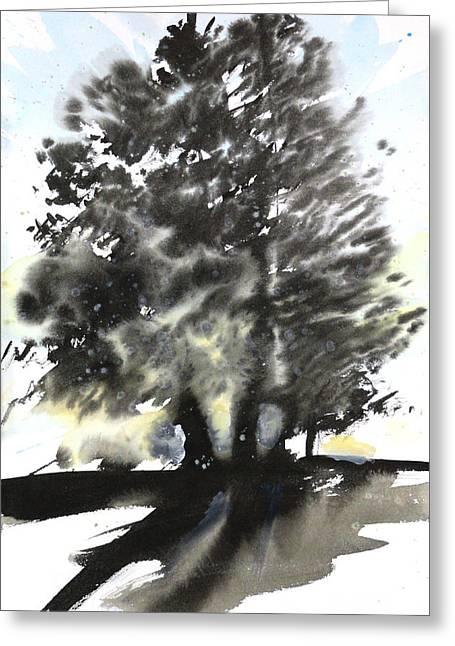 Sumie No.9 Trees Greeting Card by Sumiyo Toribe