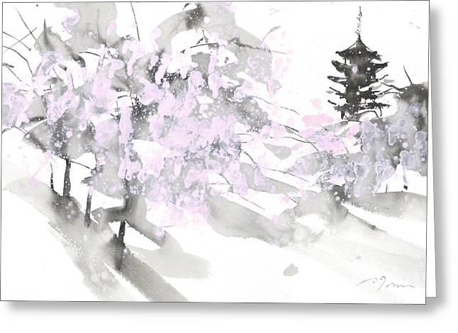 Sumiyo No.4 Five Story Pagoda Greeting Card by Sumiyo Toribe