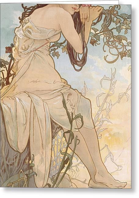 Summer Greeting Card by Alphonse Marie Mucha