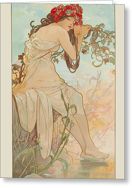 Summer Greeting Card by Alphonse Mucha