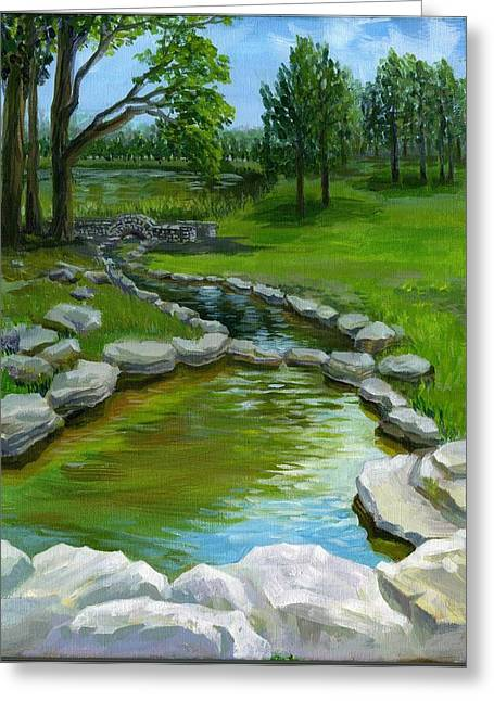 Greeting Card featuring the painting Summer At Saint Louis Forest Park  by Ping Yan