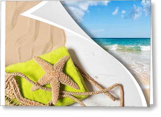 Summer Beach Basket Greeting Card by Amanda Elwell