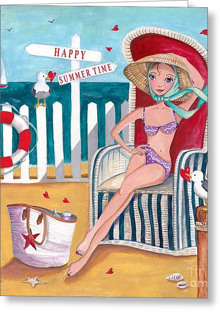 Summer Beach  Greeting Card by Caroline Bonne-Muller
