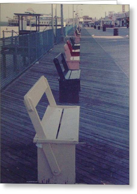 Summer Benches Seaside Heights Nj Greeting Card by Joann Renner