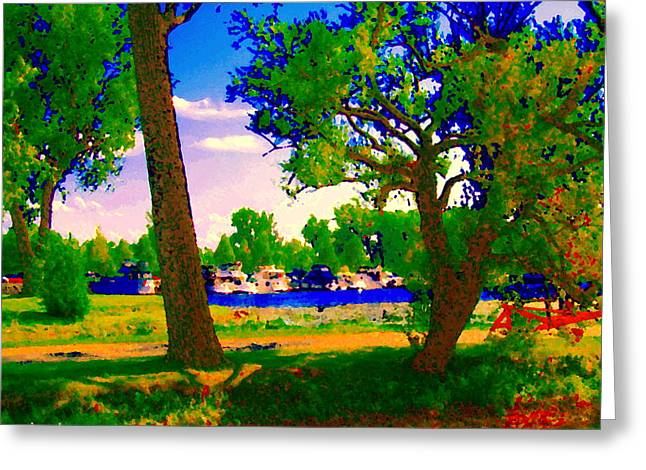 Summer Boats Moored Along Tree Lined Lachine Canal Quebec Landscapes  Montreal Art Carole Spandau Greeting Card by Carole Spandau