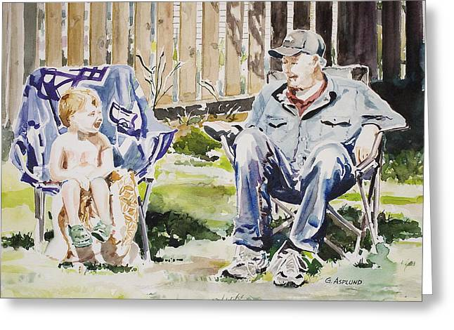 Grandfather  And Grandson Summer Bonding Greeting Card