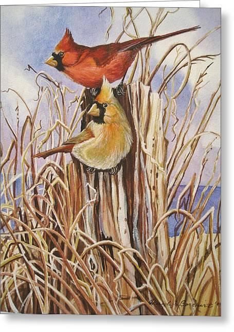 Summer Cardinals Greeting Card by Cheryl Borchert