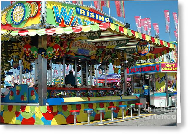Festivals Fairs Carnival Photos Greeting Cards - Summer Carnival Festival Fun Fair Shooting Gallery - Carnival State Fair Stands Greeting Card by Kathy Fornal