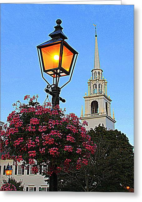 Summer Church And Lantern Greeting Card