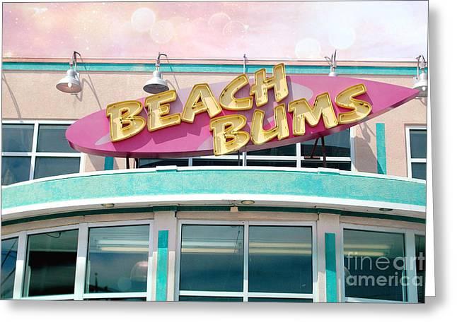 Summer Cottage Beach Bums Myrtle Beach Art Deco Sign Greeting Card