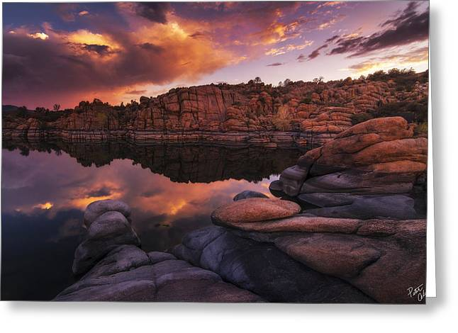 Summer Dells Sunset Greeting Card by Peter Coskun