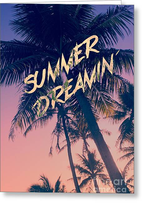Summer Dreamin Tropical Island Palm Trees Sunrise Greeting Card