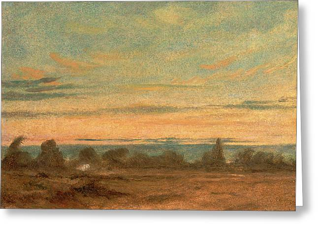 Summer - Evening Landscape, Attributed To John Constable Greeting Card by Litz Collection