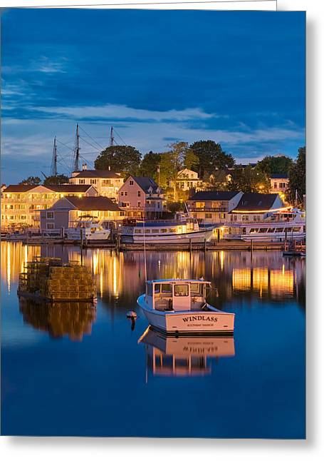 Summer Evening On Boothbay Harbor Greeting Card