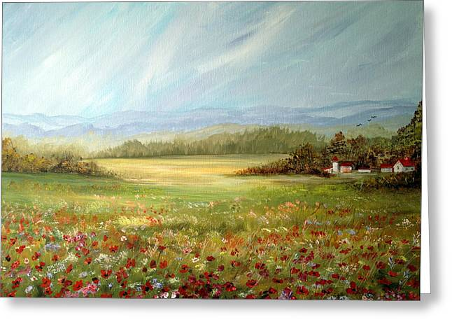 Summer Field At The Farm Greeting Card by Dorothy Maier