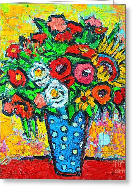 Summer Floral Bouquet - Sunflowers Poppies And Roses Greeting Card by Ana Maria Edulescu