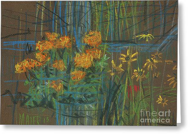 Greeting Card featuring the painting Summer Flowers by Donald Maier