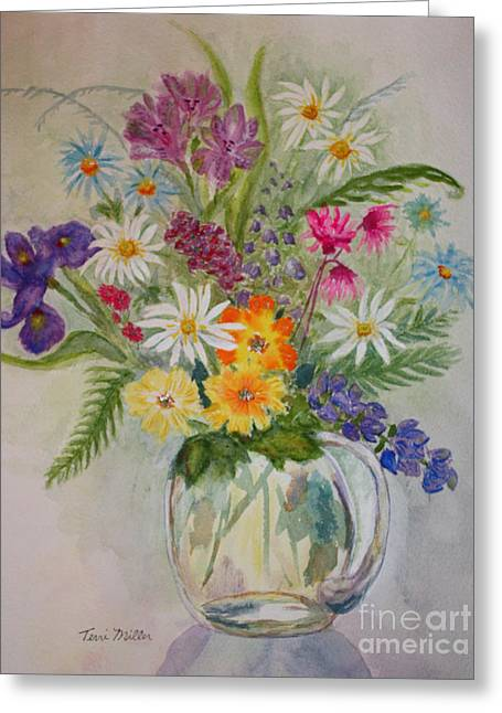 Summer Flowers In Vase Greeting Card by Terri Maddin-Miller