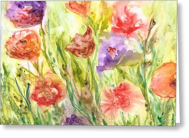 Summer Flowers Greeting Card by Rosie Brown