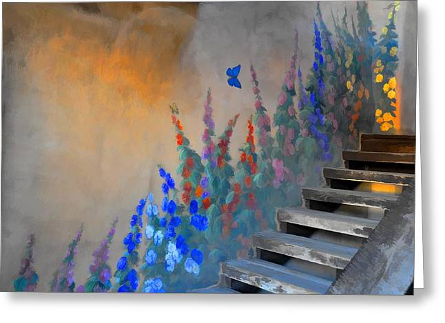 Summer Garden And Stairs Greeting Card by Jan Amiss Photography