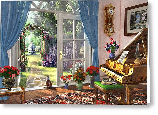 Greeting Card featuring the painting Summer Garden View by Dominic Davison