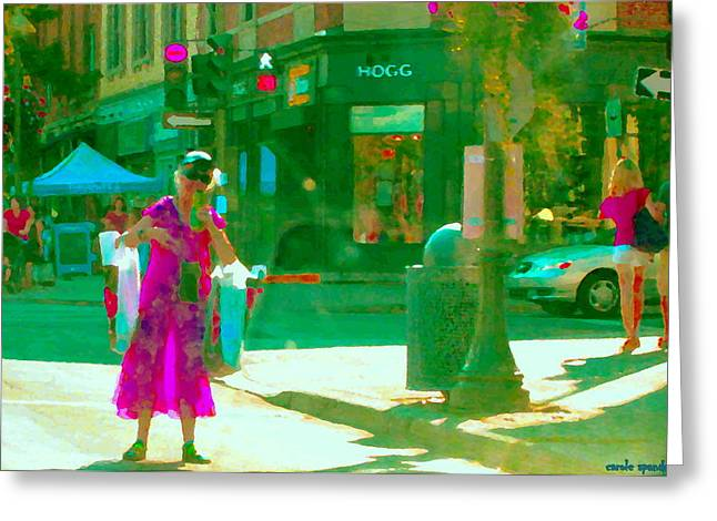 Summer Heatwave Too Hot To Walk Lady Hailing Taxi Cab At Hogg Hardware Rue Sherbrooke Carole Spandau Greeting Card by Carole Spandau