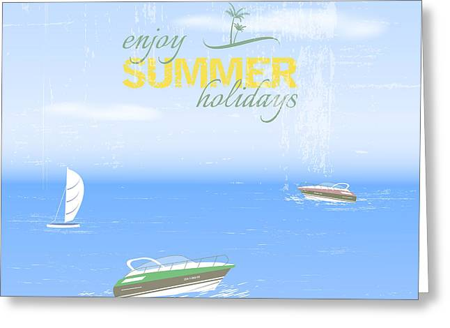 Summer Holidays Background By The Sea Greeting Card