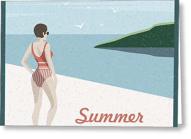 Summer Holidays Retro Poster Woman The Greeting Card