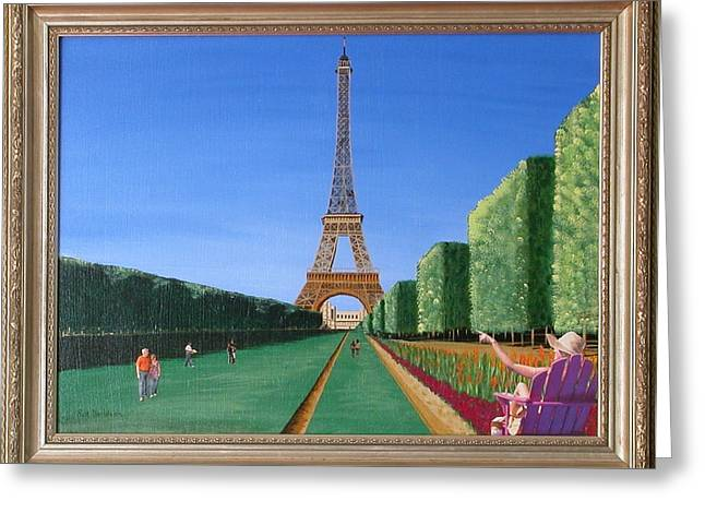 Greeting Card featuring the painting Summer In Paris by Ron Davidson