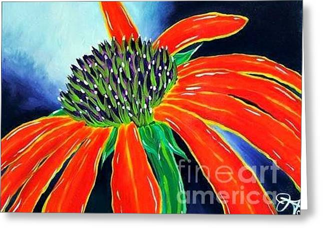 Greeting Card featuring the painting Summer Kissed Cone Flower by Jackie Carpenter