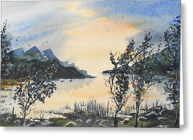 Greeting Card featuring the painting Summer Lake by Terry Banderas