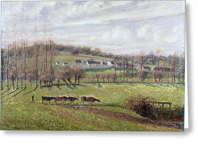 Summer Landscape. Eragny Greeting Card by Camille Pissarro