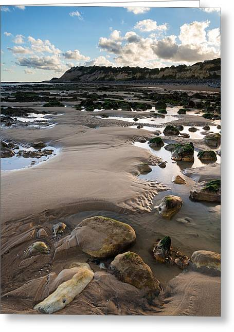 Summer Landscape With Rocks On Beach During Late Evening And Low Greeting Card by Matthew Gibson