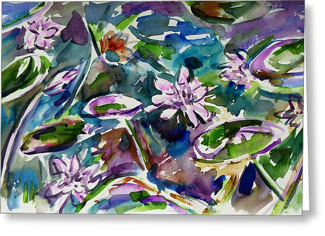 Summer Lily Pond Greeting Card by Xueling Zou