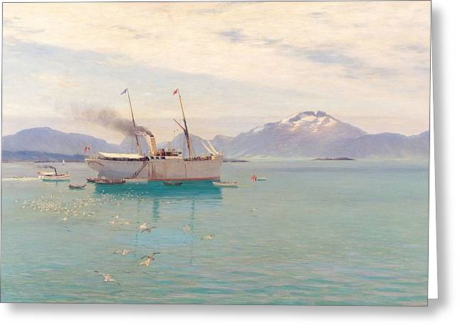 Summer Morning At Molde, 1892 Oil On Canvas Greeting Card by Johannes Martin Grimelund