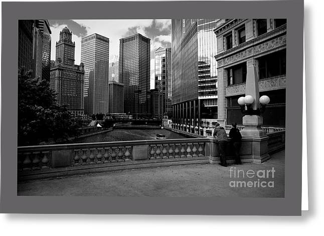 Summer On The Chicago River - Black And White Greeting Card