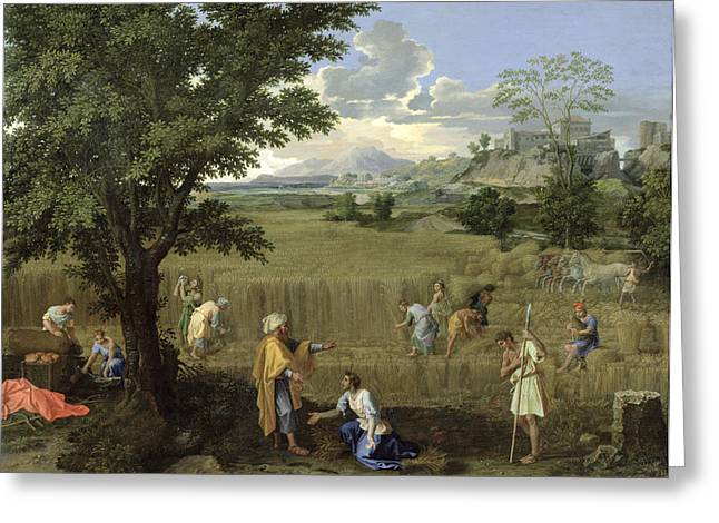 Summer, Or Ruth And Boaz, 1660-64 Oil On Canvas Greeting Card