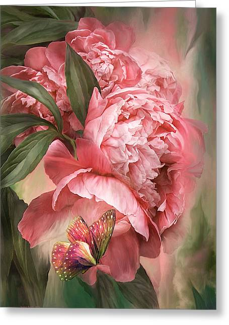Summer Peony - Melon Greeting Card by Carol Cavalaris