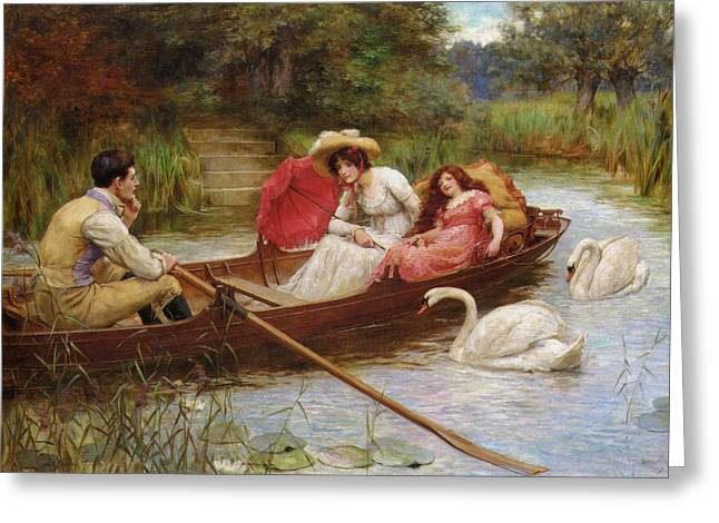 Summer Pleasures On The River Greeting Card by George Sheridan Knowles