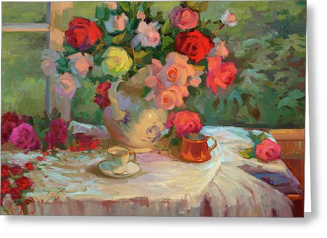 Summer Roses Greeting Card by Diane McClary