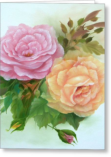 Summer Roses Greeting Card by Francine Henderson