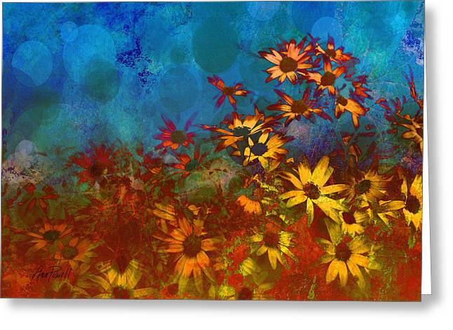 Summer Sizzle Abstract Flower Art Greeting Card by Ann Powell