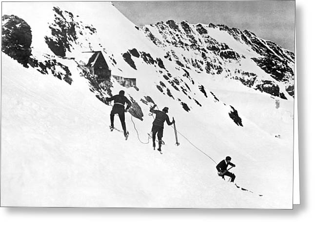 Summer Ski Race In Switzerland Greeting Card by Underwood Archives
