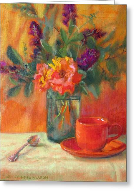 Summer Song- Orange Roses And Butterfly Bush Blooms Greeting Card by Bonnie Mason