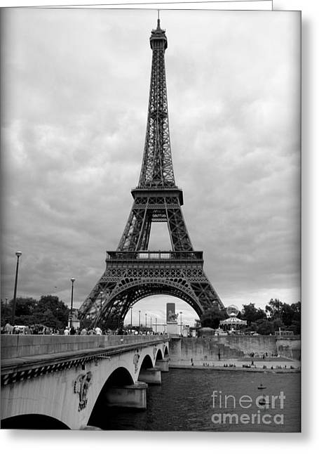 Summer Storm Over The Eiffel Tower Greeting Card by Carol Groenen
