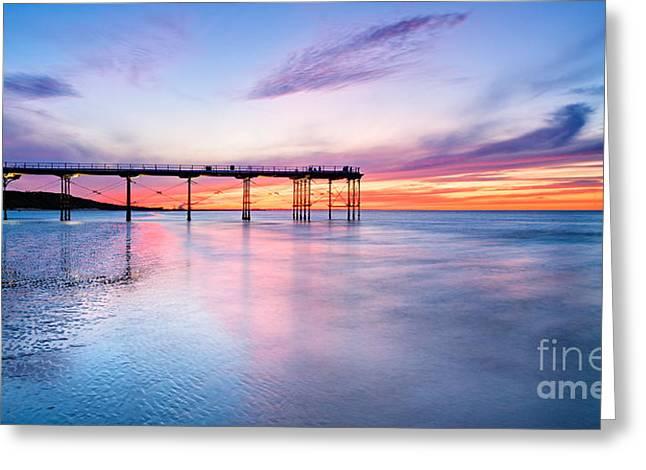 Summer Sunset Saltburn Greeting Card by Janet Burdon