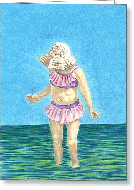 Greeting Card featuring the drawing Summer by Troy Levesque