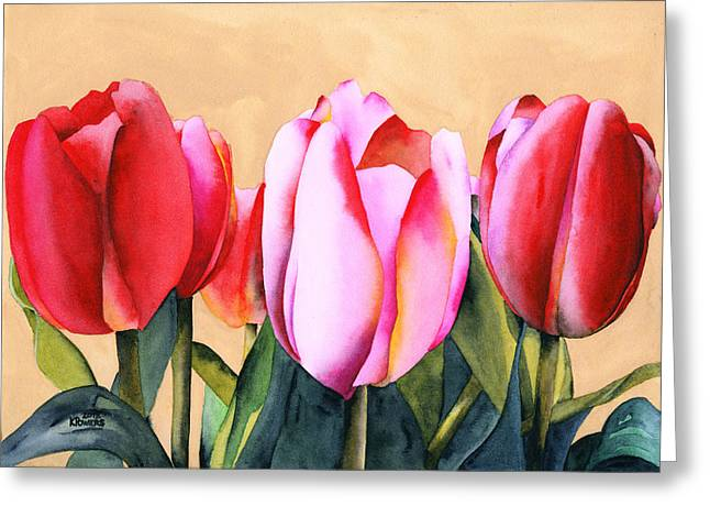 Greeting Card featuring the painting Summer Tulips by Ken Powers